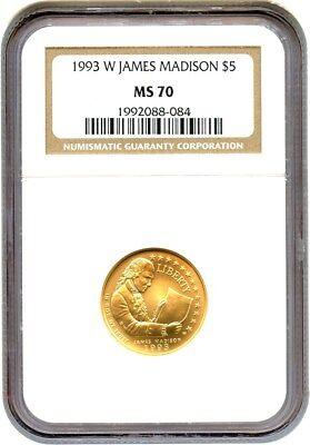 1993-W Madison $5 NGC MS70 - Modern Commemorative Gold