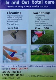 In and out . Cleaning / lawnmowing North Ward Townsville City Preview