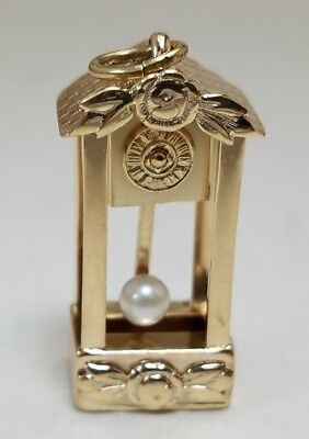 14k Yellow Gold Grandfather Clock Pendulum Floor Clock Pearl Charm