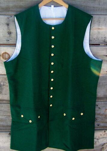 Revolutionary War Green 100% Wool Vest 42