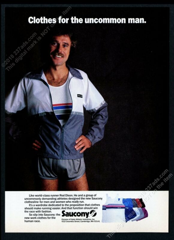 1985 Rod Dixon photo Saucony running clothes shorts jacket vintage print ad