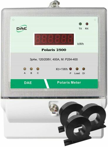 DAE P254-400-S KIT, 400A, RS485, UL kWh Submeter, 3 Phase 120/208V 3 CT