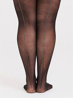 Torrid Womens Black Mesh Silver Sparkle Cuban Tights Plus Size 1 / 2 14 / 20 (Glitter Tights Plus Size)