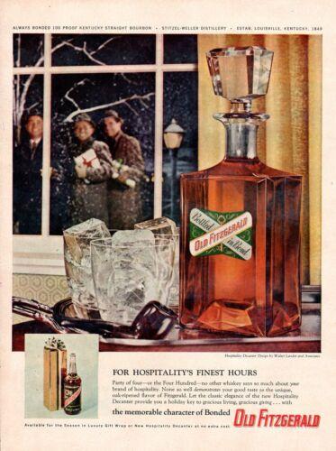 Vintage advertising print Alcohol Old Fitzgerald Walter Landor Decanter 1958 ad