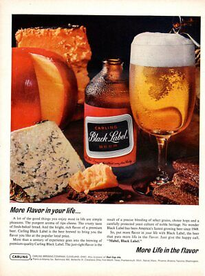 Vintage advertising print Alcohol Beer Carling Black Label Bread cheese 1965 ad