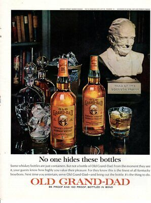 Vintage advertising print Alcohol Old Grand-dad No one hides these bottles 1964