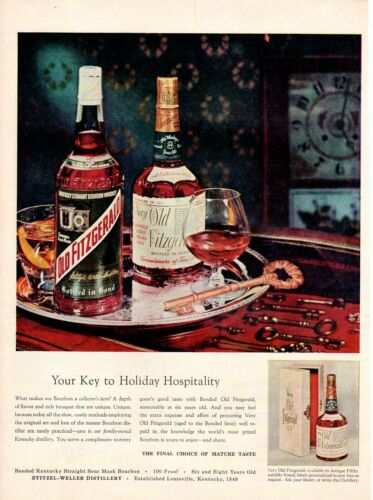 Vintage advertising print Alcohol Old Fitzgerald Bourbon Golden Key 1957 ad