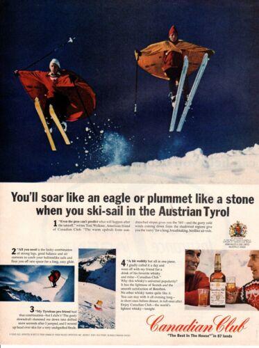 Vintage advertising print Alcohol Canadian Club Austrian Tyrol Ski-sail 1965 ad