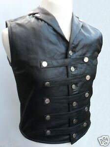 Mens-Leather-Steel-Boned-STEAMPUNK-Waistcoat-Vest-Corset-GOTH-Victorian
