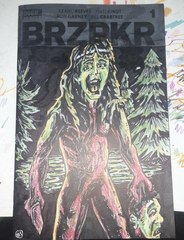 BRZRKR #1 Blank Variant with original artwork of Angela from Sleepaway Camp film