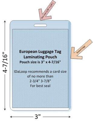 European Luggage Tag Laminating Pouch 100pk 3 X 4-716 5 Mil Free Ship
