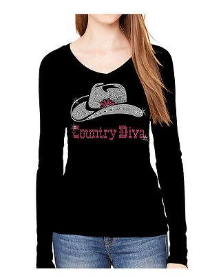 COUNTRY DIVA RHINESTONE COWBOYS COWGIRL HAT V NECK LONG SLEEVE TEE (Diva Long Sleeve Tee)