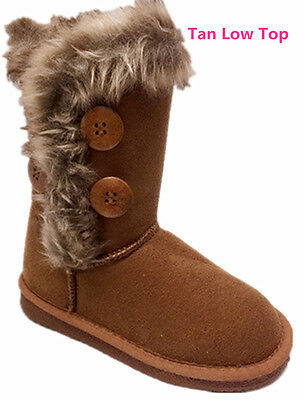 Faux Snow (Women's Fur Mid-calf 4 Buttons Faux Soft Snow Winter Flat Boot Shoes)