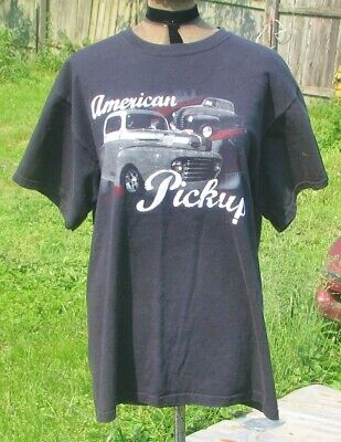 1940s Men's Shirts, Sweaters, Vests American Pickup Truck 1940s Ford & Chevy Black T shirt  $5.00 AT vintagedancer.com