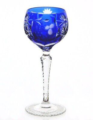 "Nachtmann Traube Cobalt Blue Cut to Clear Crystal Sherry Cordial 5.5"" Signed"