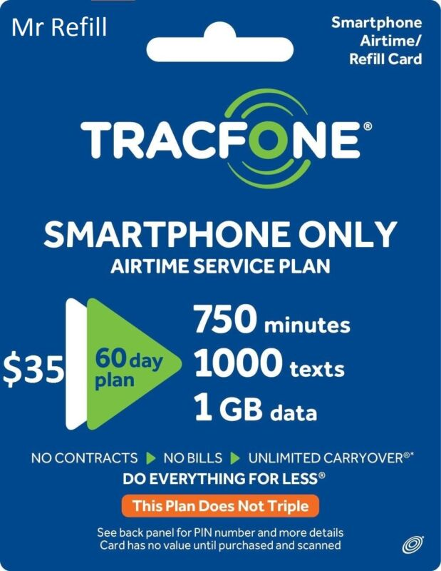 TracFone SmartPhone Plan $35/60Days-750m,1000Text,1GB -- fast & right