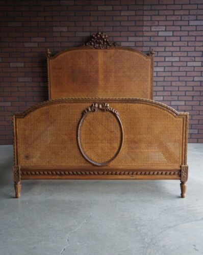 Antique French Full Bed ~  Parisian Bed ~ French Provincial Cane Bed Frame