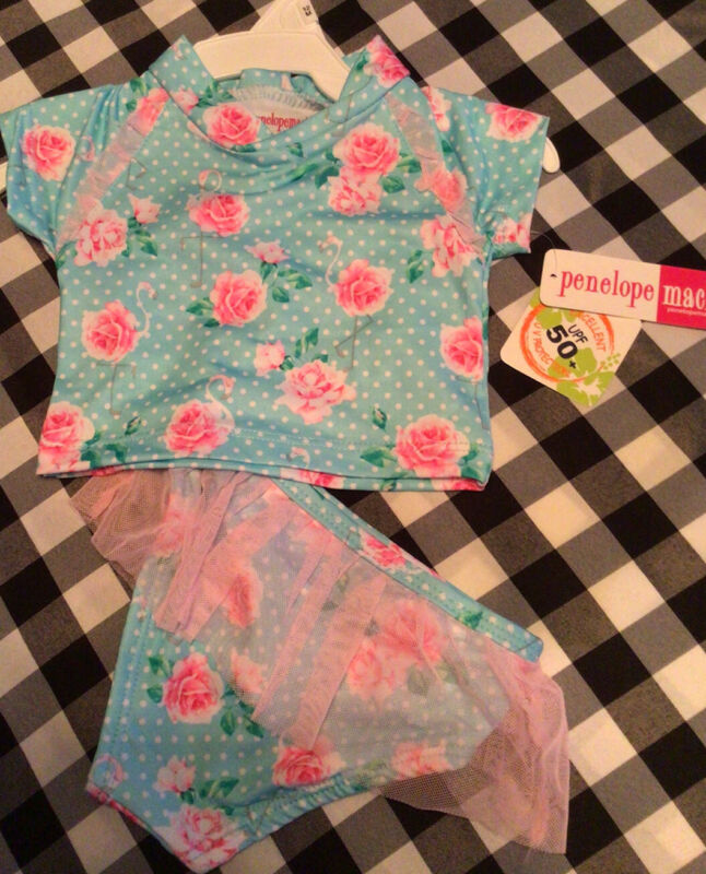 Penelope Mack Girl's 12 Month 2 Piece Adorable Swimsuit Tulle Roses UPF 50 NWT!