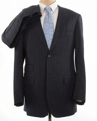 ISAIA Suit Size US 42L Drop 8L In Black Stripe Soft Light Flannel Super 130s