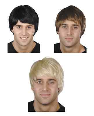 NEW Mens Short Haired Guy Wig in Black, Blonde, Brown - Fancy Dress Accessories - Guys In Halloween Costumes