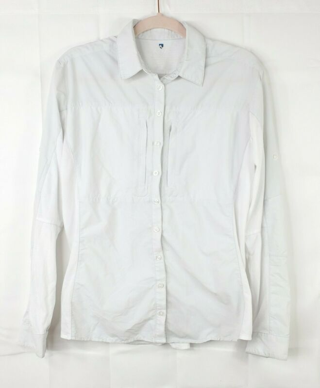 KUHL womens L white long sleeve button down nylon outdoor camping hiking shirt