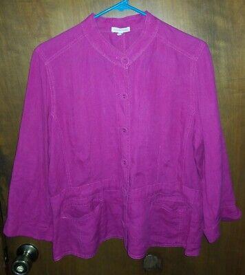 Eileen Fisher L  Hot Pink 100% Irish Linen Jacket Tunic Top Shirt Tab Collar