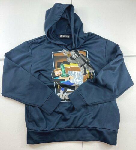 Jinx Minecraft Zip Up Hoodie Big Logo Face Blocky Blue Size Youth Medium Hooded
