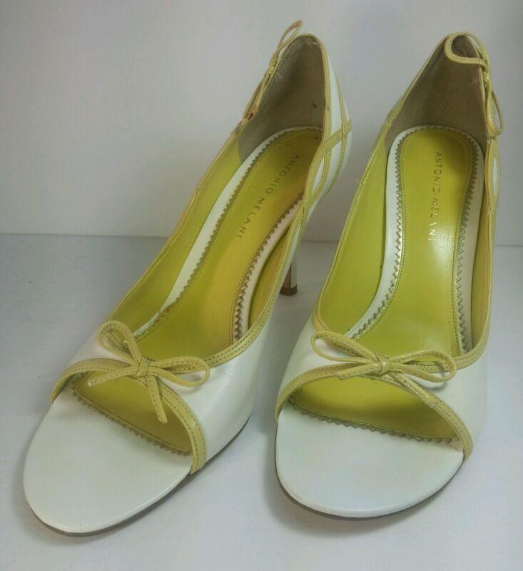 Antonio Melani Womens Shoes Sz 8M White Leather w/Yellow Open Toe High Heels
