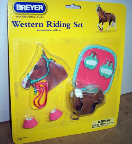 BREYER HORSE WESTERN RIDING SADDLE SET #2042 TRADITIONAL SIZE (NEW IN PACKAGE)