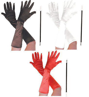 HALLOWEEN CRUELLA DE VILLE FANCY DRESS CIGARETTE HOLDER & LONG GLOVES BLACK RED
