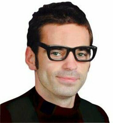Black Retro Vintage Square Frame Glasses Fashion Geek Nerd Fake Eyeglasses 22754
