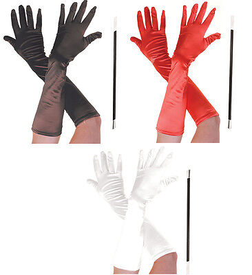CRUELLA DE VILLE HALLOWEEN FANCY DRESS LONG GLOVES BLACK RED & CIGARETTE HOLDER