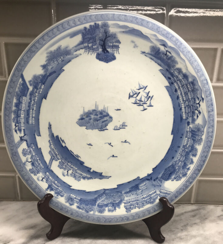 "HUGE ANTIQUE ASIAN CHINESE JAPANESE BLUE & WHITE 19"" BOWL CHARGER PLATTER BOATS"