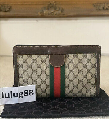 AUTHENTIC Vintage Gucci Ophidia 1980's Accessory Collection GG Clutch Handbag