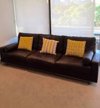 """Leather Lounge Sofa - """"King"""" 3 piece Italian leather - 7 seats Darlinghurst Inner Sydney Preview"""