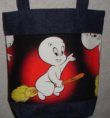 NEW Medium Denim Halloween Tote Bag Handmade/w Casper Ghost Broom Fabric (Halloween Broom Bags)