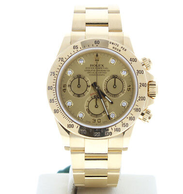 Rolex 116528 40mm Daytona 18k Yellow Gold Watch Factory Champagne Diamond Dial
