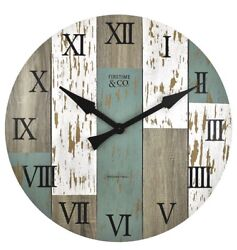 "Large Wall Clock 27"" Diameter Natural Distressed Wood Wall-Mount Roman Numerals"