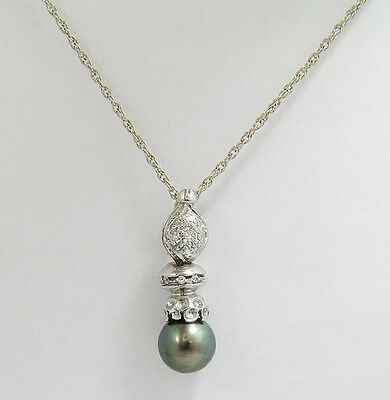 14kt White Gold Tahitian Pearl and Diamond Pendant Necklace