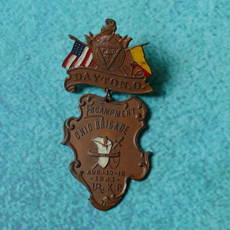 1909 KNIGHTS OF PYTHIAS Bronze Medal Pin Badge - DAYTON OHIO Brigade Encampment