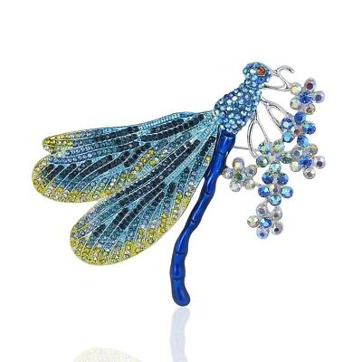 Austrian Crystal Dragonfly Pin - Dragonfly Austrian Rhinestone Crystal Enamel Brooch Pin Animal Large Blue B778B