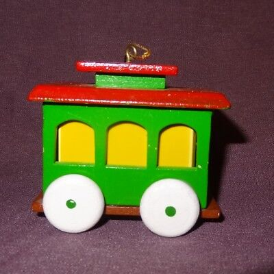"""Caboose Ornament Locomotive Red Green 2"""" Wooden Christmas Train Car"""