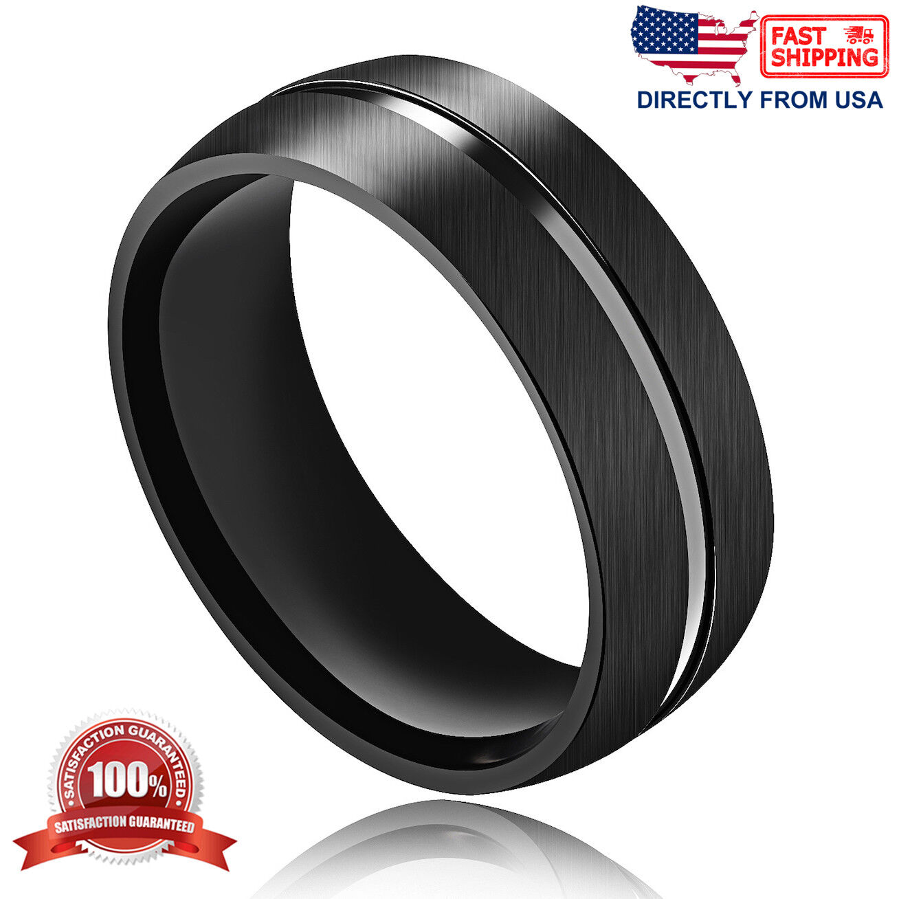 Men's Ring, Stainless Steel Brushed Finish 8mm Comfort Fit Wedding Band Jewelry & Watches