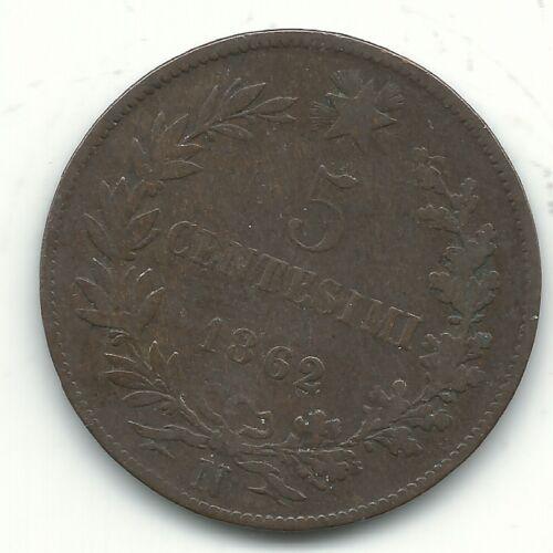 A VERY NICE VINTAGE 1862 N 5 CENTESIMI ITALY COIN-JUN510