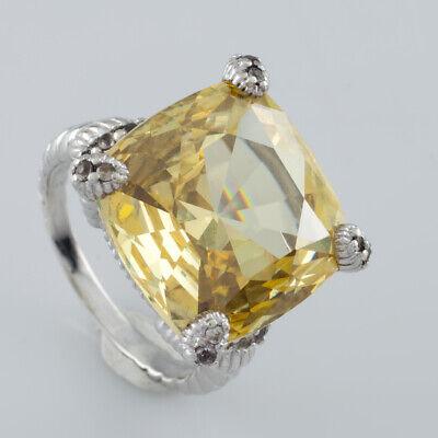 Judith Ripka 925 Silver Canary Quartz White Sapphire Twist Ring Sz 6.75