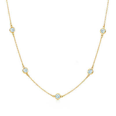 3Ct Created Diamond By The Yard Bezel Station Solid 14k Gold Necklace 16