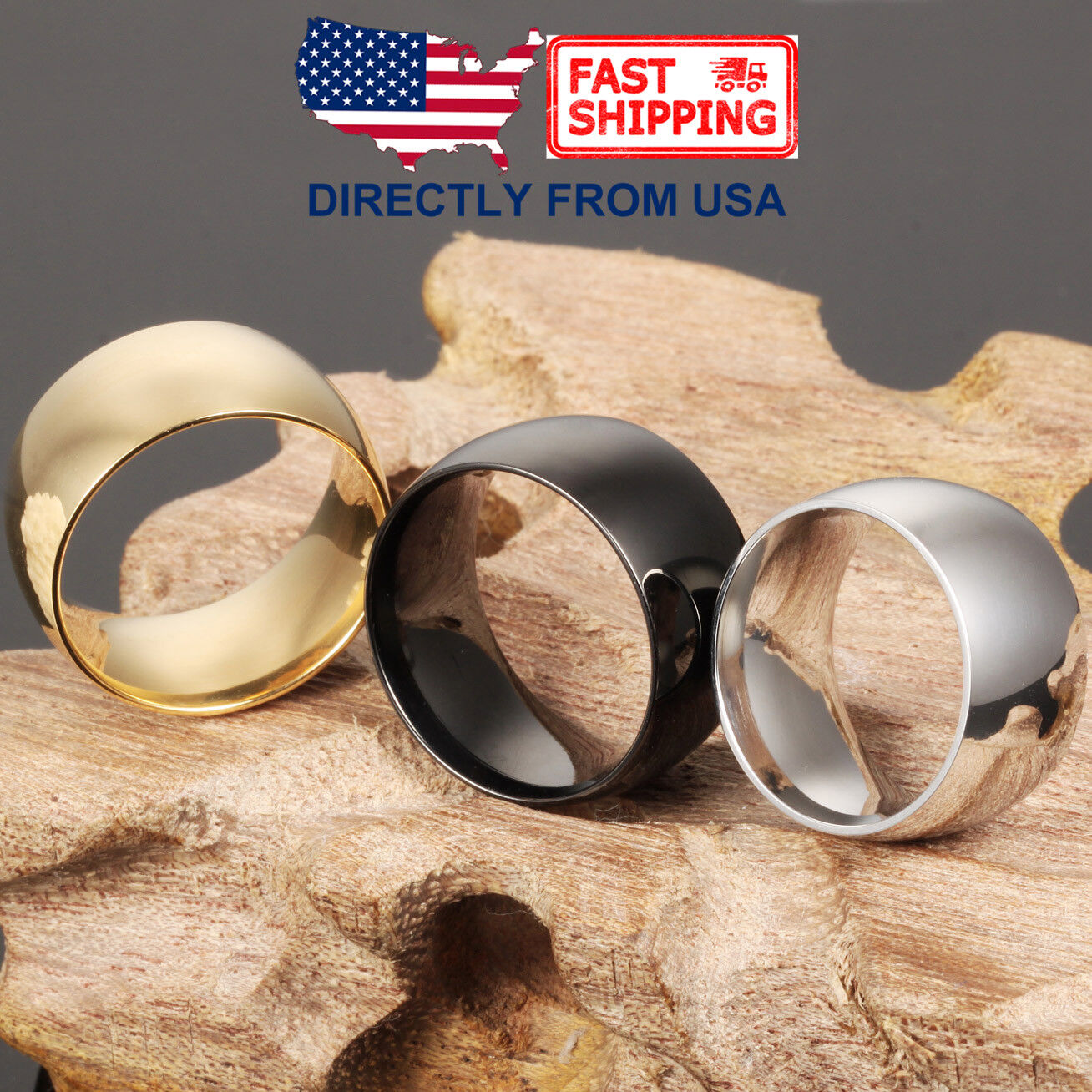 Men's Stainless Steel Dome Ring, 12mm Wide Polished Wedding Band, Comfort Fit Jewelry & Watches