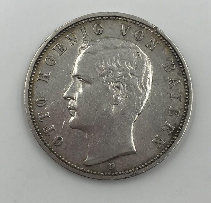 1891-D Germany/Bavaria Silver 5 Mark Otto Nice Coin!
