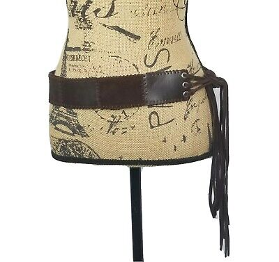 New York & Company Leather Hip Slung Fringe Boho Western Belt Sz S/M Wide Quilt Fringe Hip Belt