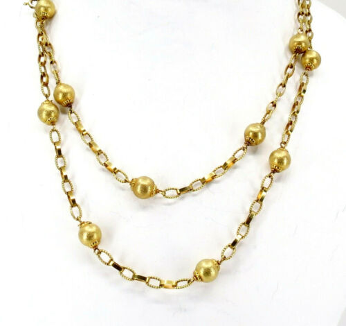 "14K YELLOW GOLD CHAIN BEAD NECKLACE 31"" LONG. SIGNED UNO A ERRE"